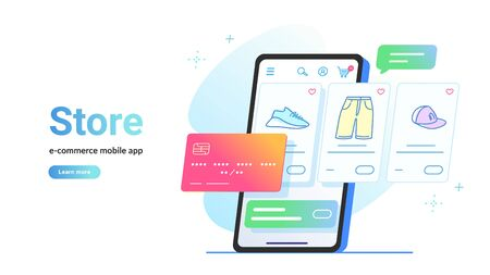 Online store e-commerce mobile app. Flat line vector illustration of smartphone screen online e-store with goods and bank card for payment. Credit card and shop items line icons on white background