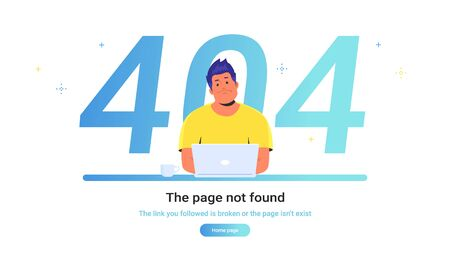 The page not found 404 error. Gradient vector illustration of upset man sitting at work desk with laptop and seeing 404 error. People using website and having problems due to broken web page