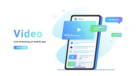 Video watching and live streaming on mobile app. Gradient vector illustration of smartphone screen with online video and speech bubbles as comments. Promo banner for socila media on white background