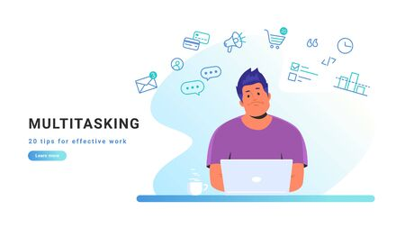 Multitasking and working with laptop at home. Flat line vector illustration of upset man sitting at home with laptop and working remotely. Multi tasking and effective work concept on white background Illustration