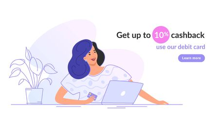Happy smiling woman sitting with laptop and holding a bank card. Flat modern vector illustration of people who use debit card and get cashback for shopping. Female consumer with credit card on white