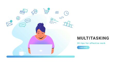 Multitasking and working online with laptop. Flat line vector illustration of cute woman sitting alone with laptop and working remotely. Effective work from home concept isolated on white background Illustration