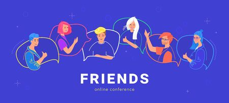 Happy teenagers on speech bubbles talking together. Flat line vector illustration of live conversation and online chat. Young people as friends chatting and gesturing to each other on blue background Illustration