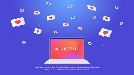 Social media speech bubbles with hearts. Concept vector illustration of flying symbols of hearts in bubbles for social media and laptop gradient screen. Bright background for promotion and networks