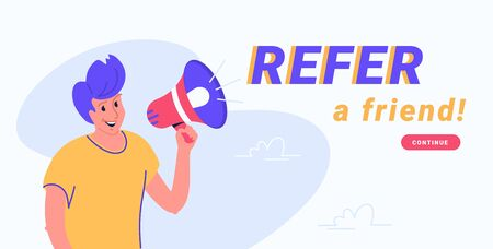Refer a friend and audience announcement on loudspeaker. Flat line vector illustration of cute man standing and shouting with red megaphone to invite new clients. Notification or an alert white banner