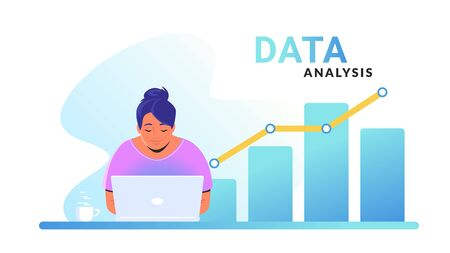 Data analysis for increasing sales and revenue. Flat line vector illustration of cute woman sitting with laptop and working with graph. Global data analytics concept isolated on white background Illustration