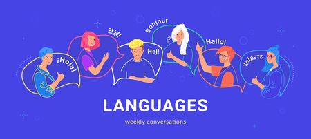 Happy multilingual teenagers talking and greeting each other in different languages. Flat vector illustration of young people on speech bubbles talking together as native speakers isolated on blue Illustration