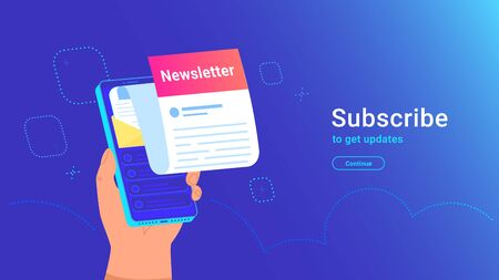 Newsletter subcription online in mobile app. Vector gradient illustration of human hand holds isometric smartphone with new monthly letter flying out of screen for getting news and recent updates Illustration
