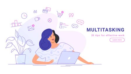 Multitasking and working online with laptop. Flat line vector illustration of casual woman sitting alone with laptop and working remotely. Effective work from home concept isolated on white background