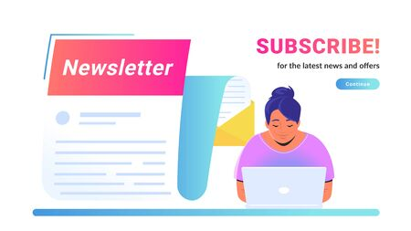 Newsletter subcription for the latest news and offers. Vector illustration of cute woman sitting alone at workdesk with laptop and reading new monthly letter flying forward for staying up-to-date