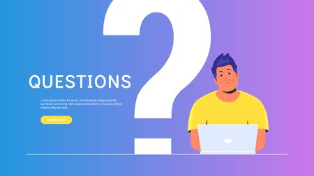 Upset and bored teenager sitting with laptop and big question symbol behind. Flat vector illustration of student needs a professional help or advice on community. Young man waiting hepldesk service Illustration