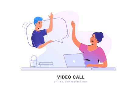 Video call conversation or chat. Concept vector illustration of young woman sitting at workdesk and talking to her friend via video call app using laptop. Online communication technology white banner