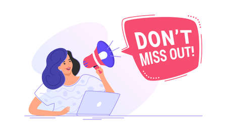 Do not miss out loudspeaker banner to remind something for a community. Flat line vector illustration of cute woman sitting with laptop and shouting with red megaphone. Announcement or alert on white Illustration