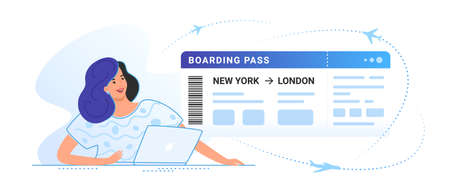 Boarding pass concept vector illustration of young smiling woman sitting with laptop and looking at big aircraft boarding ticket. Flat people buying a plane trip online via website on white background