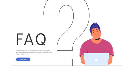 Upset and bored teenager sitting with laptop and big question symbol behind. Flat vector illustration of student needs a professional help or community faq. Young man waiting hepldesk service