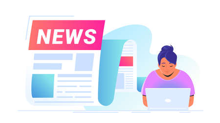 Breaking news flying out as a notification of latest updates for world, entertainment and politics . Vector illustration of cute woman sitting alone with laptop and reading daily news and top stories