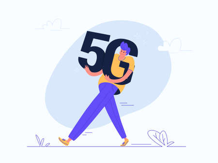Young man carrying heavy 5g symbol. Flat modern concept vector illustration of people who afraid a high speed wireless connection 5G and radiowaves via mobile smartphone. Casual banner on white banner