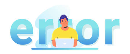 An error notification banner for website. Gradient vector illustration of upset man sitting at work desk with laptop and seeing a system error. People using website and having broken soft or service