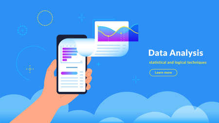 Data analysis, research and reports. Vector gradient illustration of human hand holding smartphone with application financial graph flying out of screen. Infographic design for market trends tracking