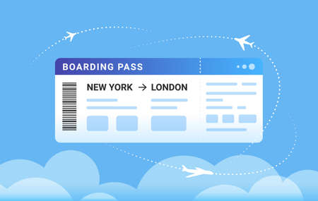 Boarding pass concept vector illustration of a big aircraft boarding ticket and airplanes flying around in clouds. Blank design of promo banner for website on blue background Illustration