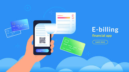 E-billing after payment by credit card via electronic wallet. Vector gradient illustration of human hand holding smartphone with electronic bill notification flying out of screen for connected card Illustration