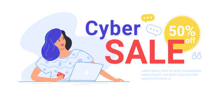 Cyber sale up to 50 off for online shopping. Flat line vector illustration of cute woman sitting alone with laptop and holding a credit card in her hand. Creative banner for sale on white background Illustration
