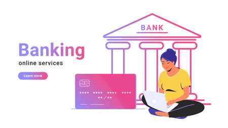 Online banking for checking account, investing and funding. Flat line vector illustration of woman sitting alone in lotus pose with laptop, credit card and bank icon behind on white background card