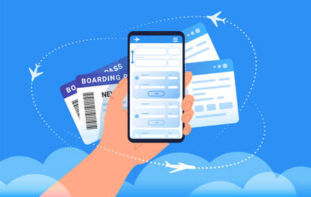 Boarding pass mobile add for online check-in and airplanes flying around in clouds. Concept vector illustration of human hand holds a smartphone with two mobile boarding passes on blue background Illustration