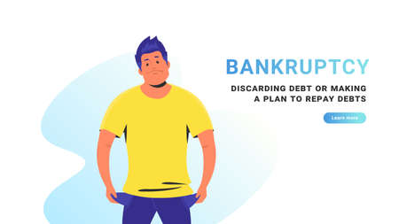 Bankruptcy and discarding debt or making a plan to repay debts. Flat vector illustration of poor upset man standing with empty pockets as a bankrupt. Economy depression and financial crisis concept Stock Vector - 151776667