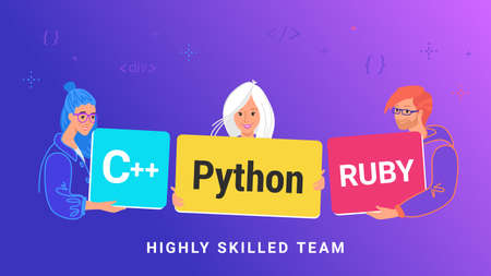 Highly skilled team of young programmers. Flat vector illustration of three guy holding cards as python and ruby skills to develop a service or app. Teamwork and collaboration of IT professionals