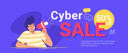 Cyber sale up to 50 off for online shopping. Flat line vector illustration of cute man sitting alone and shouting with megaphone friday sale announcement. Creative banner for sale on purple background