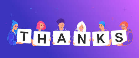 Thank you letters on paper cards. Concept vector illustration of smiling teenage friends holding letters thanks to respect doctors for saving lives and people for a service or invaluable contribution Illustration