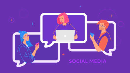 Young three teenagers chatting and texting together in social media using laptop and smartphone. Flat line vector illustration of people in speech bubbles of chat and online conference on purple color Illustration