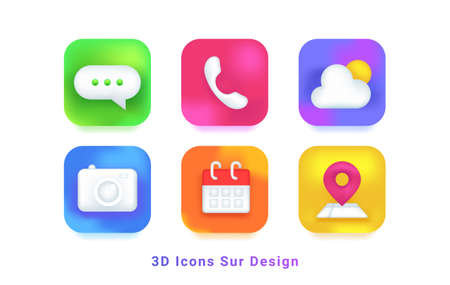 3d icons sur design symbols for mobile app. Realistic icons set of chat, phone, weather broadcast, camera, calendar and map on colorful gradients with shadows for modern mobile applications and web