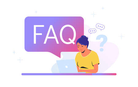 Young woman sitting with laptop and having questions. Flat vector illustration of smiling student needs a professional help or community faq. People waiting hepldesk service or watching video tutorial