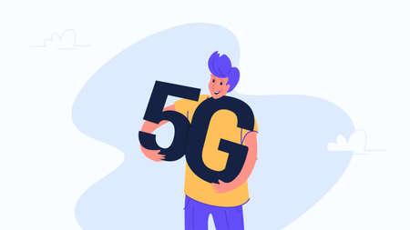 Young happy man hugging heavy 5g symbol.