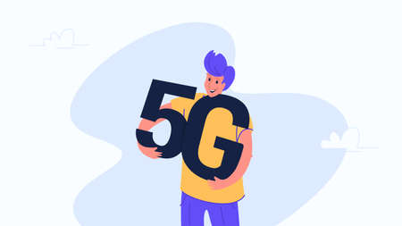 Young happy man hugging heavy 5g symbol.