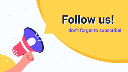 Follow us megaphone yellow bubble announcement.