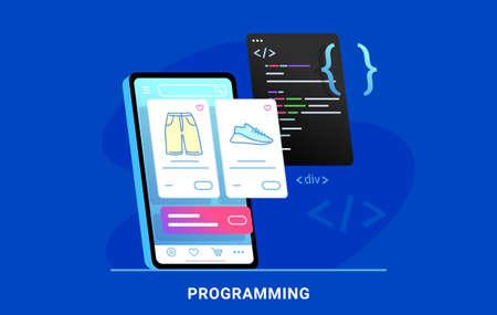 Coding e-commerce mobile app for online store. Illustration