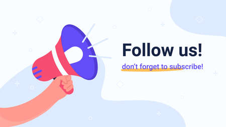 Follow us megaphone announcement. Flat vector modern illustration of human hand holds red loud-hailer for community alert or notification to invite new subscribers. Concept design for promo banners Illustration