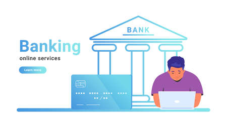 Online banking for checking account, investing and funding. Flat line vector illustration of man sitting alone working on laptop with credit card and bank icon behind on white background Standard-Bild - 153388614