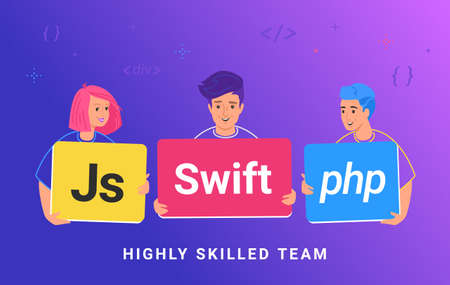 Highly skilled team of young programmers. Flat vector illustration of three guy holding cards as js, php and swift skills to develop a service or app. Teamwork and collaboration of IT professionals Illustration