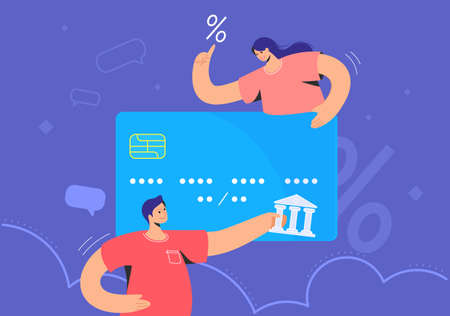 Family banking and blue credit card interest rate. Flat vector illustration of man and woman holding a big credit card to represent some new features online banking and investing money for profit