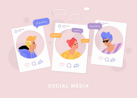 Young three teenagers chatting and texting together in social media pages as profiles. Flat line vector illustration of people with speech bubbles of chat and online talking on rose background