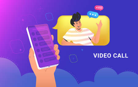Video call conversation or chat. Concept vector illustration of human hand holds a smartphone with a speech bubble and talking friend via video call app. Online communication technology banner Illustration