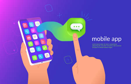 Isometric smartphone with messenger application flying out the screen for a presentation. Mobile chatting icon for social media and messages. Gradient dynamic design for promo, ad and landing page Illustration