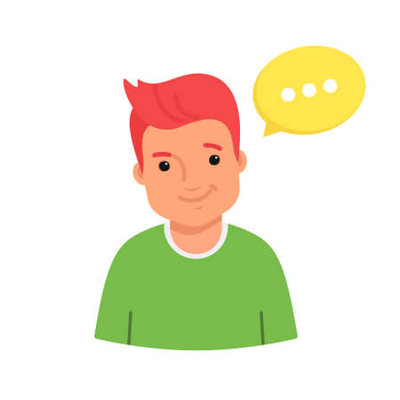 Smiling male avatar wearing green sweater. Flat vector illustration of happy casual man character with yellow speech bubble as an avatar for social media and networks