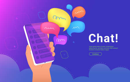 Community announcement or group chat mobile app. Concept vector illustration of human hand holds a smartphone with a speech bubbles as a messenger or community alert in social media Illustration