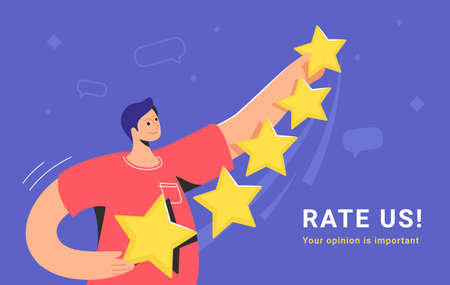 Customer review and user rating five stars. Flat teenage man standing alone and holding some yellow stars to rate a service or goods. Customer feedback and high rating template on blue background Illustration