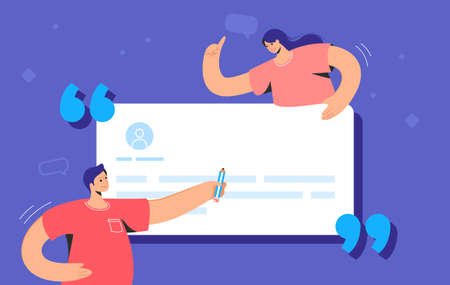 Customer review and user testimonials fulfilled form. Flat vector illustration of couple writing a comment on a website for a service or goods. Customer feedback with users template on blue background